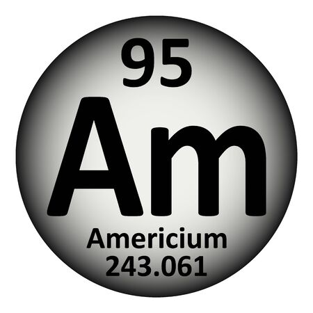 Periodic table element americium icon on white background. Vector illustration.