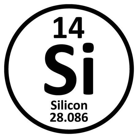 Icône de silicium élément tableau périodique sur fond blanc. Illustration vectorielle.