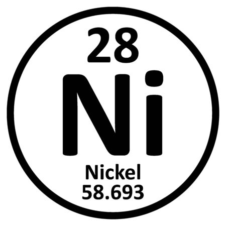 Icono de níquel de elemento de tabla periódica sobre fondo blanco. Ilustración vectorial.