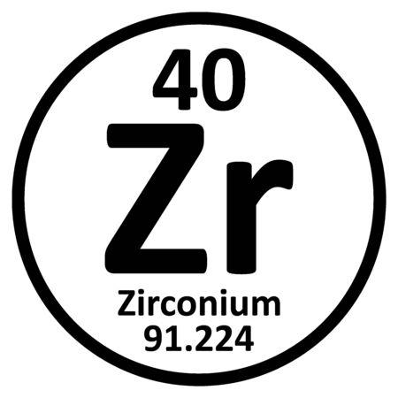 Periodic table element zirconium icon on white background. Vector illustration.