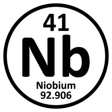 Periodic table element niobium icon on white background. Vector illustration.