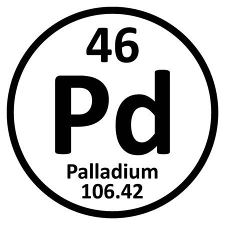 Periodic table element palladium icon on white background. Vector illustration. Ilustração