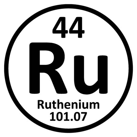 Periodic table element ruthenium icon on white background. Vector illustration. Ilustração