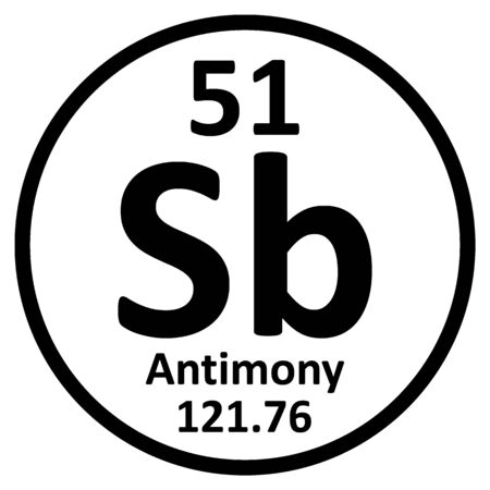 Periodic table element antimony icon on white background. Vector illustration.
