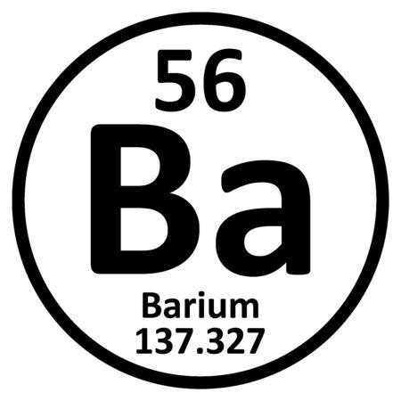 Periodic table element barium icon on white background. Vector illustration. Ilustração