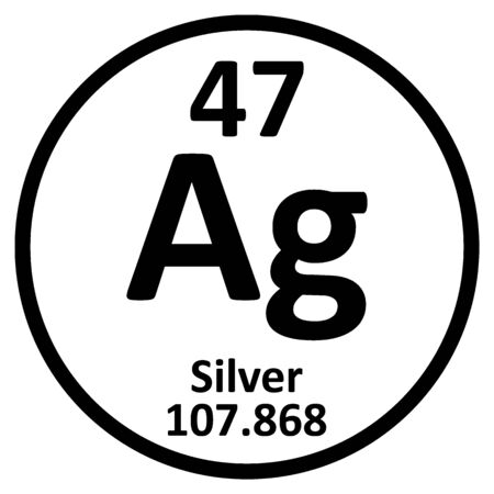 Periodic table element silver icon on white background. Vector illustration.