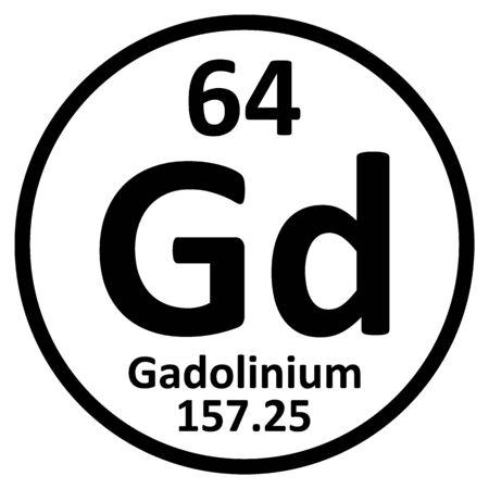 Periodic table element gadolinium icon on white background. Vector illustration. Ilustração