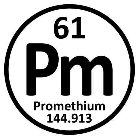 Periodic table element promethium icon on white background. Vector illustration.