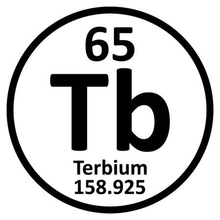 Periodic table element terbium icon on white background. Vector illustration.