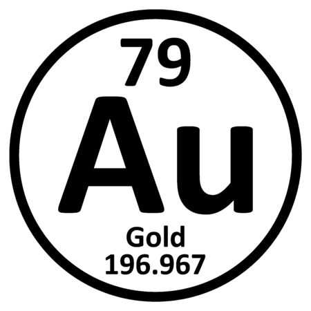 Periodic table element gold icon on white background. Vector illustration.