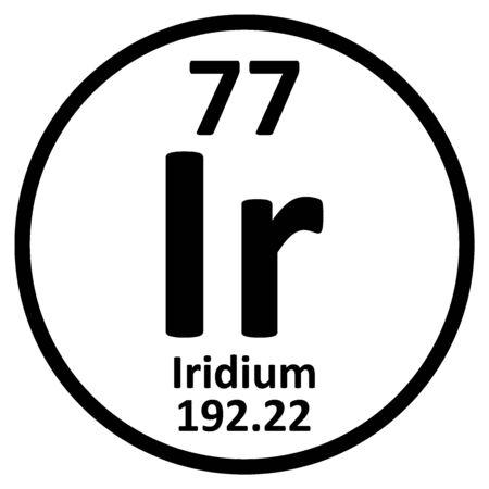 Periodic table element iridium icon on white background. Vector illustration.