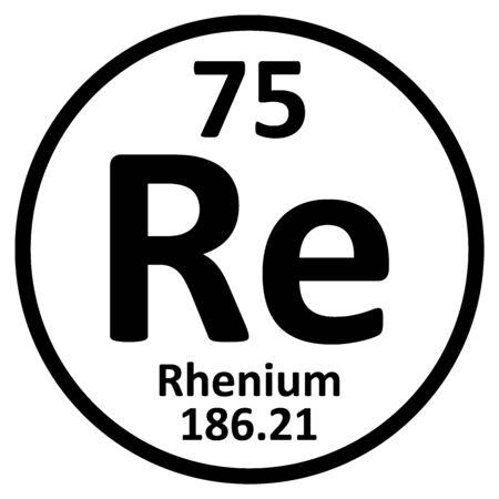 Periodic table element rhenium icon on white background. Vector illustration.