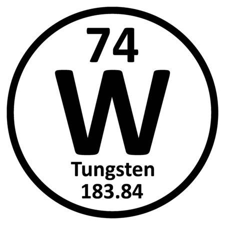 Icône de tungstène élément tableau périodique sur fond blanc. Illustration vectorielle. Vecteurs