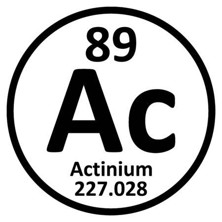 Periodic table element actinium icon on white background. Vector illustration.