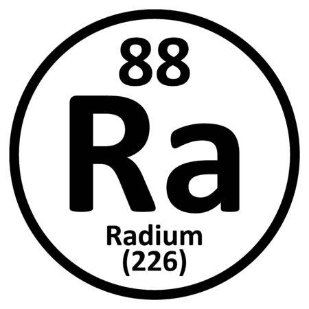 Periodic table element radium icon on white background. Vector illustration. Ilustração