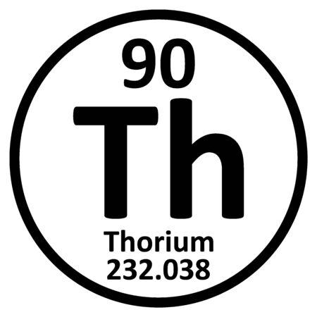 Periodic table element thorium icon on white background. Vector illustration. Ilustração