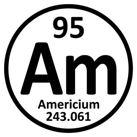 Periodic table element americium icon on white background. Vector illustration.