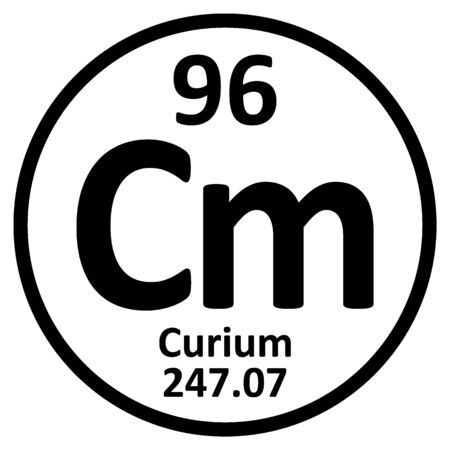 Periodic table element curium icon on white background. Vector illustration. Ilustração