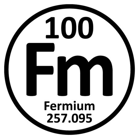 Periodic table element fermium icon on white background. Vector illustration. Ilustração