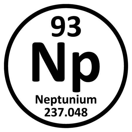 Periodic table element neptunium icon on white background. Vector illustration.