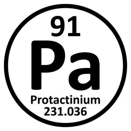 Periodic table element protactinium icon on white background. Vector illustration.