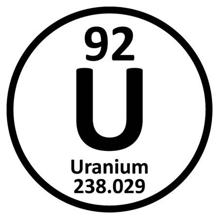 Periodic table element uranium icon on white background. Vector illustration. Ilustração