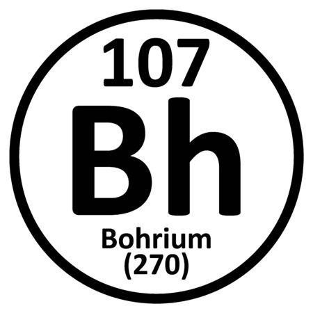 Periodic table element bohrium icon on white background. Vector illustration.