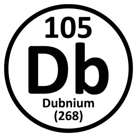 Periodic table element dubnium icon on white background. Vector illustration. Ilustração