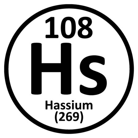 Periodic table element hassium icon on white background. Vector illustration.