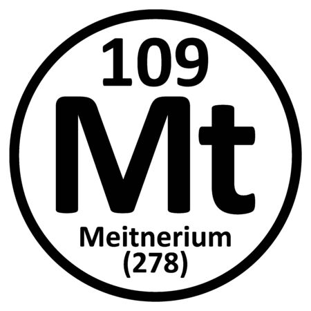 Periodic table element meitnerium icon on white background. Vector illustration.