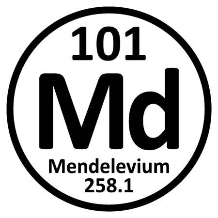 Periodic table element mendelevium icon on white background. Vector illustration.