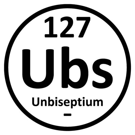 Periodic table element unbiseptium icon. Vector illustration.
