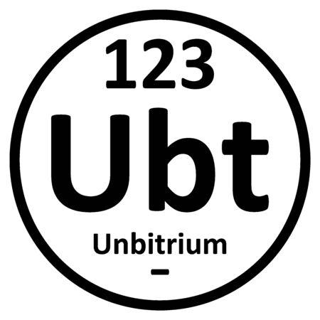Periodic table element unbitrium icon. Vector illustration.