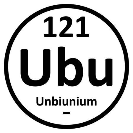 Periodic table element unbinilium icon. Vector illustration.