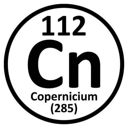 Periodic table element copernicium icon. Vector illustration. Ilustração