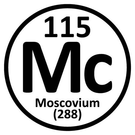 Periodic table element moscovium icon. Vector illustration.