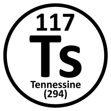 Periodic table element tennessine icon. Vector illustration.