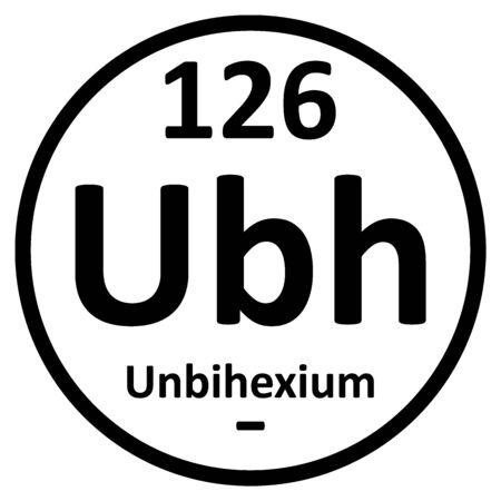 Periodic table element unbihexium icon. Vector illustration. Ilustração