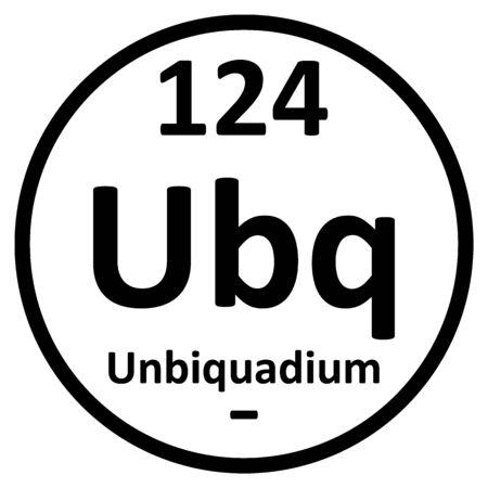 Periodic table element unbiquadium icon. Vector illustration.