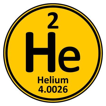 Icono de helio de elemento de tabla periódica sobre fondo blanco. Ilustración vectorial Ilustración de vector