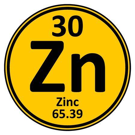 Periodic table element zinc icon on white background. Vector illustration.
