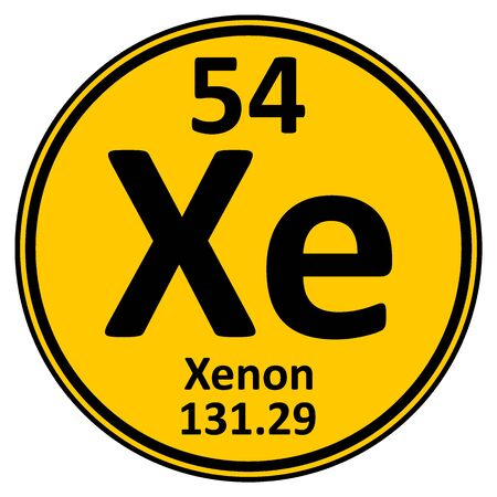 Periodic table element xenon icon on white background. Vector illustration.