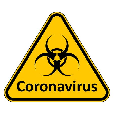 Coronavirus danger sign on white background. Vector illustration. Vettoriali