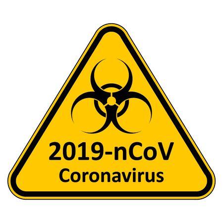 Coronavirus danger sign on white background. Vector illustration. Stock Vector - 140200428