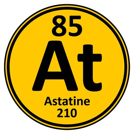 Periodic table element astatine icon on white background. Vector illustration.