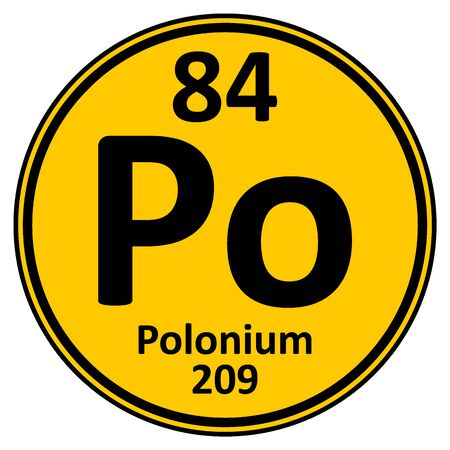 Periodic table element polonium icon on white background. Vector illustration. Ilustração