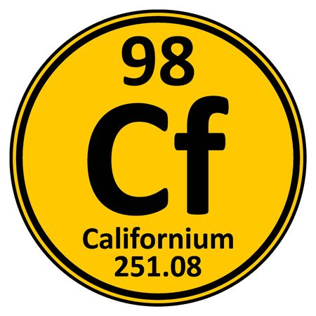 Periodic table element californium icon on white background. Vector illustration. Ilustração
