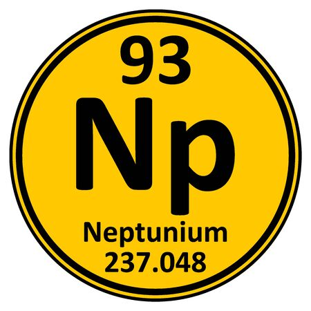 Periodic table element neptunium icon on white background. Vector illustration.
