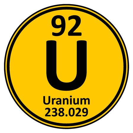 Periodic table element uranium icon on white background. Vector illustration. Ilustração