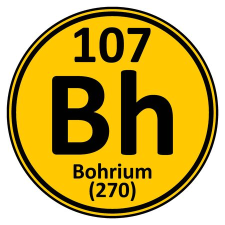 Periodic table element bohrium icon on white background. Vector illustration.